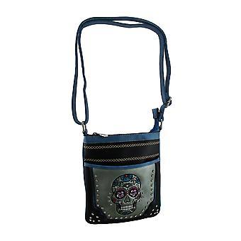 Embroidered Rhinestone Sugar Skull Crossbody Handbag with Stitched Trim