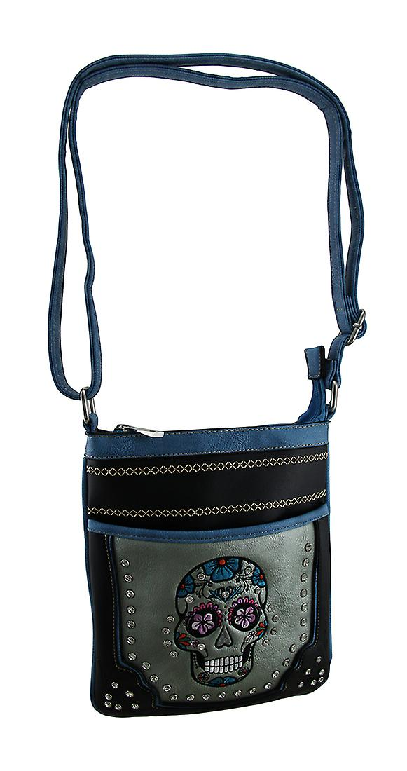 Embroidered Rhinestone Sugar Skull Crossbody Handbag with Stitched Trim