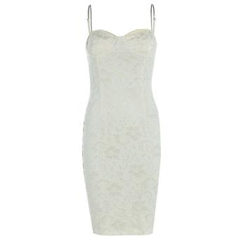 Lace Bodycon Dress With Cami Straps DR843-Cream-14
