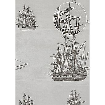 Graphic wallpaper Atlas SIG-584-5 non-woven wallpaper smooth maritime design shimmering grey, light grey grey white anthracite 5.33 m2