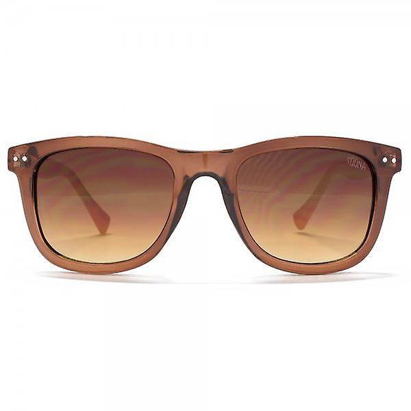 SUUNA Brooke Retro Square Sunglasses In Crystal Brown & Peach
