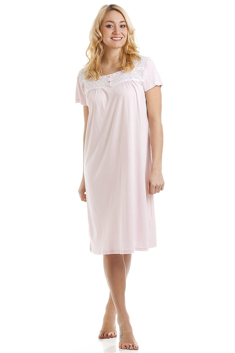 Camille Womens Luxury Pink Short Sleeve Cotton Modal Nightdress