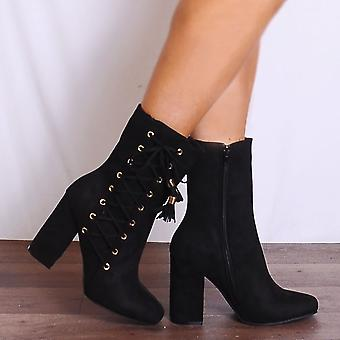 Shoe Closet Black Ankle Boots - Ladies KK4 Black Suede Lace Up Heeled Ankle Boots
