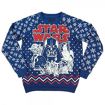 Star Wars Womens Retro Star Wars All Over Print Christmas Sweatshirt Blue