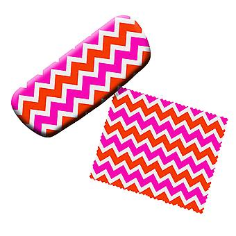 Pink and Orange Chevron Eyeglass Reading Glasses Case and Lens Cloth