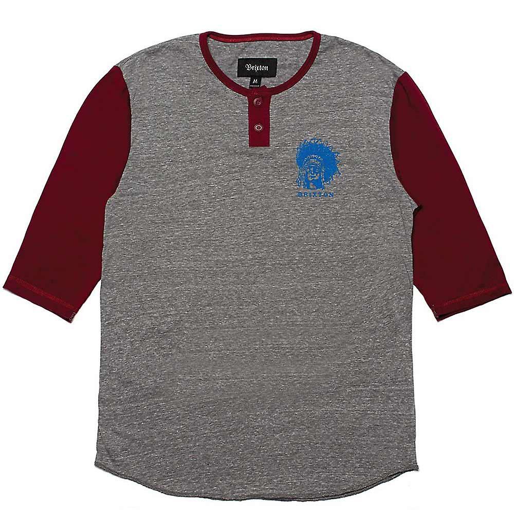 Brixton Crow Henley T-Shirt Grey