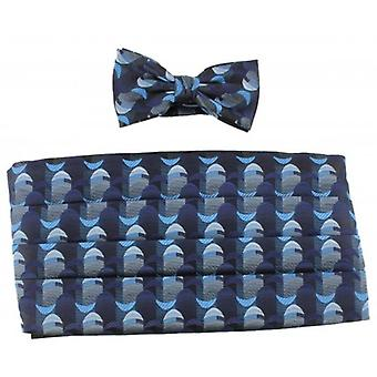 Knightsbridge Neckwear Bow Tie and Cummerbund Set - Blue