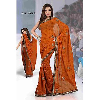 Ajastha Fancy Festival tragen Designer Georgette Sari mit Pailletten-design
