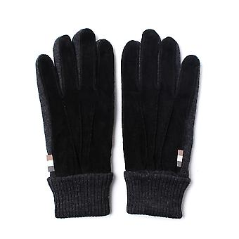Aquascutum Vector Black Suede Knitted Gloves