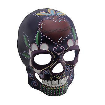 Lueur colorée dans le masque de crâne de sucre intégral foncé
