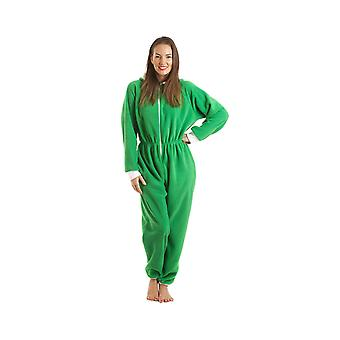Camille Womens Ladies Luxury All In One Green Elf Hooded Fleece Onesie Pocketed Pyjama Sizes 10-40