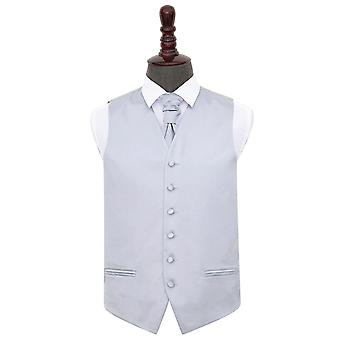 Silver Plain Satin Wedding Waistcoat & Cravat Set