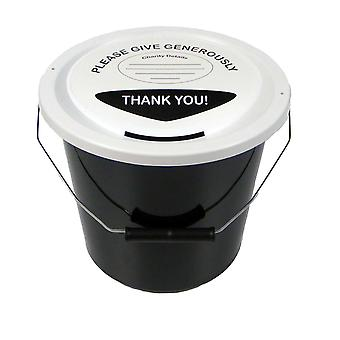 6 Charity Money Collection Buckets 5 Litres - Black