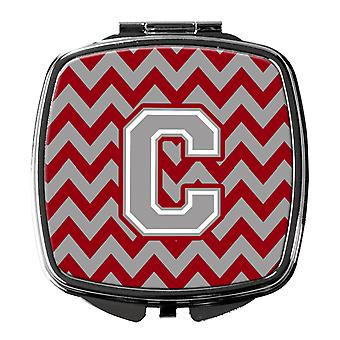 Letter C Chevron Crimson and Grey   Compact Mirror