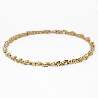 Floreo 10k Yellow Gold Solid Extra Light Diamond Cut Rope Chain Bracelet and Anklet , 2.75mm