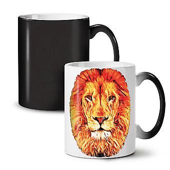 Lion Face Calm Animal NEW Black Colour Changing Tea Coffee Ceramic Mug 11 oz | Wellcoda