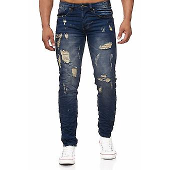 Men's jeans destroyed patch holes cracks stone washed frayed used