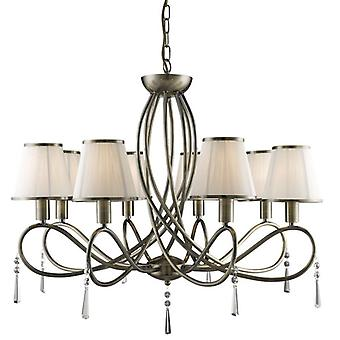 Simplicity Antique Brass And Crystal Eight Light Ceiling Light With Shades - Searchlight 1038-8ab
