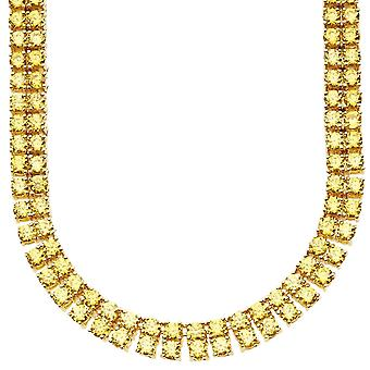 Iced out bling ZIRCONIA stones 2 ROW necklace - gold