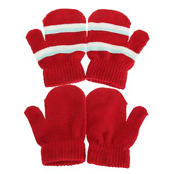 Baby Boys/Girls Winter Double Striped Mittens (2 Pairs)