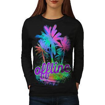 Palm Hawaii Sunny Women BlackLong Sleeve T-shirt | Wellcoda