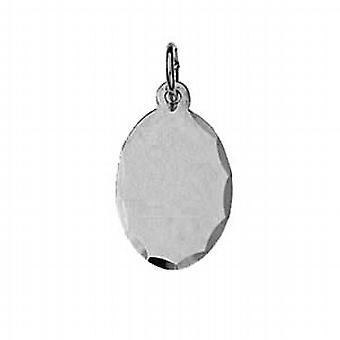 Silver 16x11mm diamond cut edge Disc