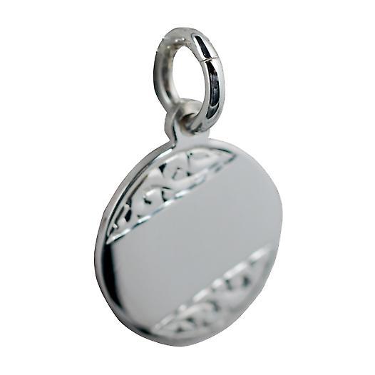 Silber 13mm Runde von Hand graviert Disc