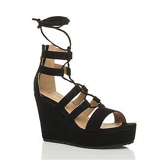 Ajvani womens hoge wig platform ghillie lace vastbinden zip gekooide gladiator sandalen schoenen