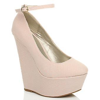 Ajvani womens high wedge heel ankle strap platform court shoes