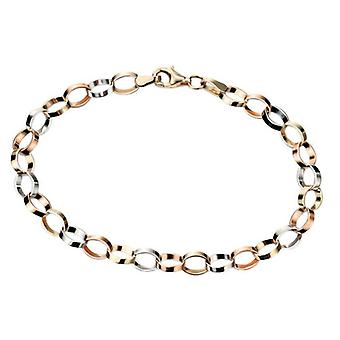 Elements Gold Flat Link Bracelet - Gold/Rose Gold/White Gold