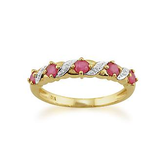 9ct Yellow Gold 0.50ct Ruby & Diamond Half Eternity Style Ring