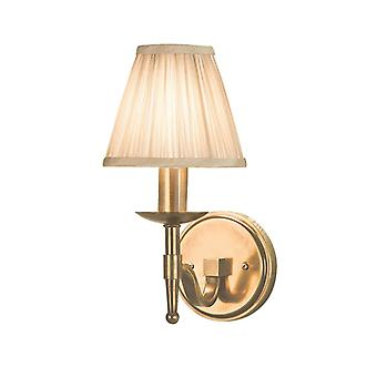 Stanford Antique Brass Single Wall Light With Beige Shade - Interiors 1900 63653
