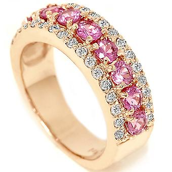 1 1 / 2ct Pink Sapphire & Diamond trouwring 14K Rose Gold
