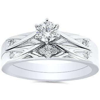 1 / 3ct diamant Engagement vielsesring sæt 14K hvidguld