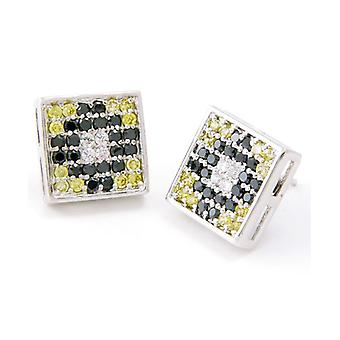Sterling 925 Silver MICRO PAVE earrings - MULTI ICED