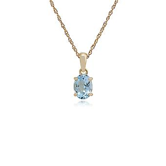 Gemondo 9ct Yellow Gold 1.11ct Oval Aquamarine Pendant on 45cm Chain