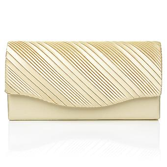 DINKY Champagne Gold Satin Small Size Pleated Fold Over Clutch Bag