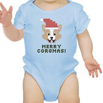Merry Corgmas Corgi Blue Baby Bodysuit Cute Christmas Baby Gift Idea