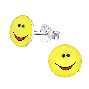 Smile Face - 925 Sterling Silver Colourful Ear Studs