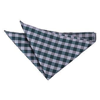 Turkis Zefyr Check lommetørklæde / Pocket Square