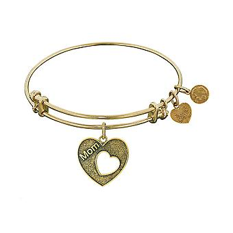Stipple Finish Brass Heart With Mom Open Heart Angelica Bangle Bracelet, 7.25