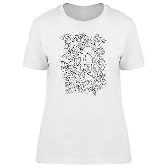 Wilde Tiere B&W Collage T-Shirt Damen-Bild von Shutterstock