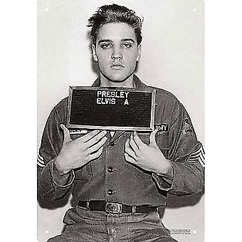 Elvis Presley alistamiento foto Metal firmar 290 Mm X 200 Mm