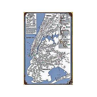 Metro de Nueva York mapa Metal oxidado firmar 460 Mm X 300 Mm