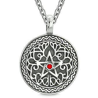 Amulet femtakkede Magic Star Celtic forsvar beføjelser Pentagram rød krystal vedhæng 18 tommer halskæde