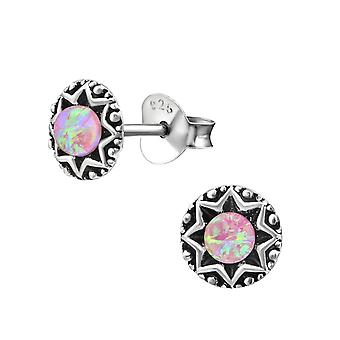 Aztec - 925 Sterling Silver Opal And Semi Precious Ear Studs - W31231x