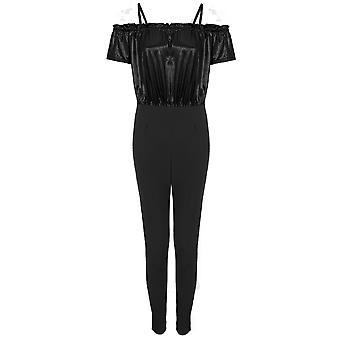 Ladies court manchon épaule Ruffle brillant métallique Lurex Bodycon Jumpsuit