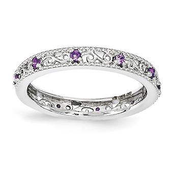 3mm 925 Sterling Silver Polished Prong set Rhodium-plated Stackable Expressions Amethyst Ring - Ring Size: 5 to 10