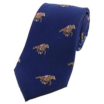 David Van Hagen Jockeys and Horses Woven Country Silk Tie - Navy