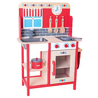 Bigjigs Toys Wooden Role Play Pretend Kitchen with Sink, Cooker Toy